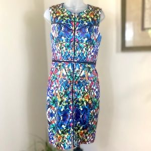 MILLY dress bodycon kaleidoscope fitted round neck